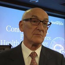 Photo of Professor Sir John Pattison, Emeritus Professor, UCL. Speaking at our public healthcare lecture 2016.
