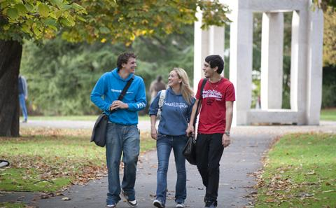 Three people walking