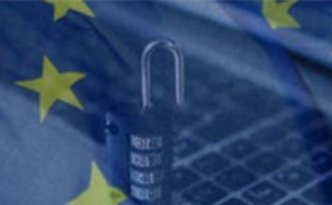 Keyboard, EU stars and padlock