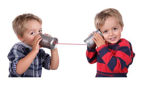 Kids playing telephone