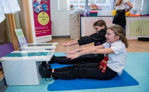 Children doing exercises