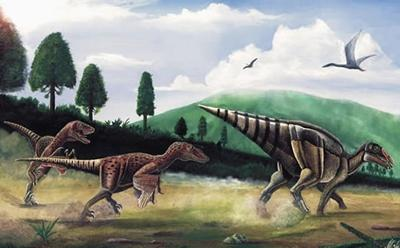 Hadrosaur illustration.