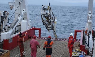 Launching survey equipment