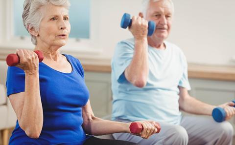 Image of older people with weights