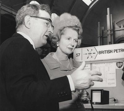 (B&W photo) D.Desty with M.Thatcher
