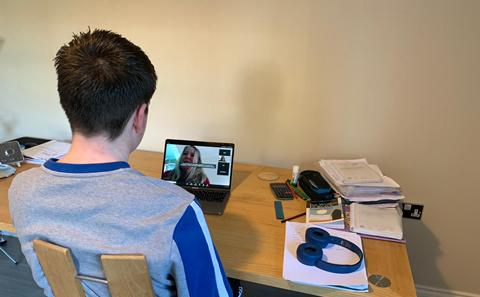 Young person in virtual interview