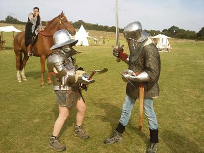 Students dressed in medieval armour