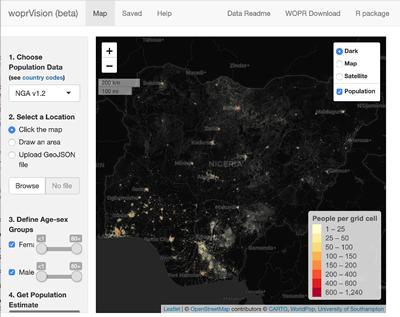 Nigeria map by WorldPop