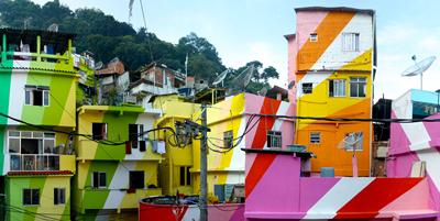 Brazilian favelas brightly painted
