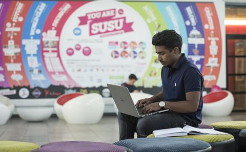 Student on laptop in SUSU