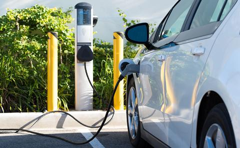 Picture of electric car charging