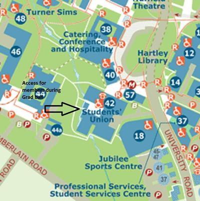 Map showing access during Grad Ball