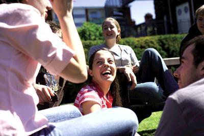 Students outside chatting