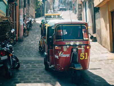 Three wheels truck on a street