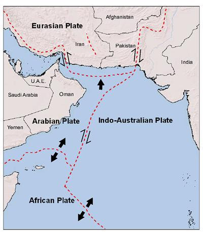 Arabian Sea, Makran subduction zone