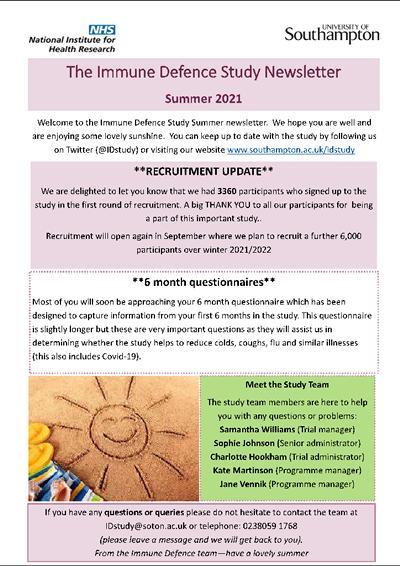 Immune Defence Study News Letter 21