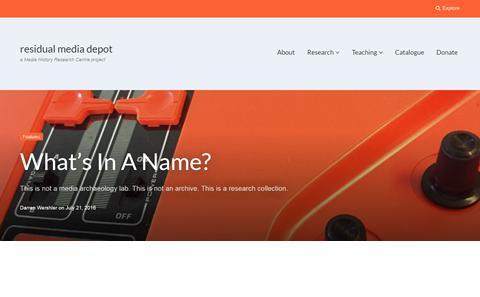 Residual Media Depot website