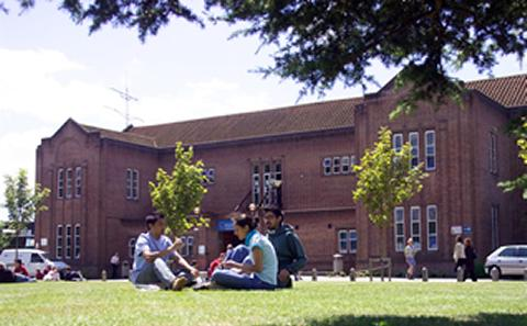 Students relax on grass on campus