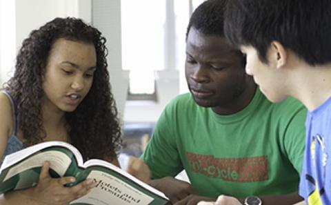 Three students studying