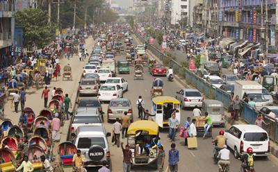 Busy street, Dhaka, Bangladesh