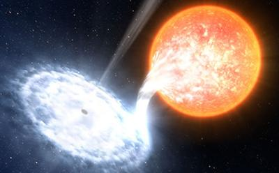 Black hole devouring material