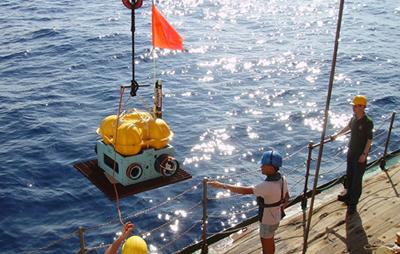 Ocean bottom seismometer being depl