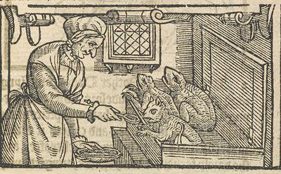 Woodcut of witch fedding familiars