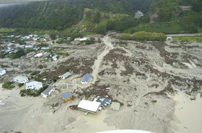 Aftermarth of debris flow at Matata