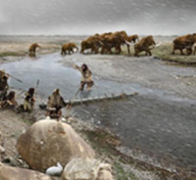 Neanderthal hunting scene