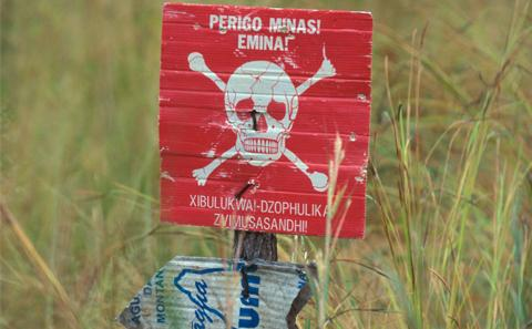 Bomb signs in Mozambique