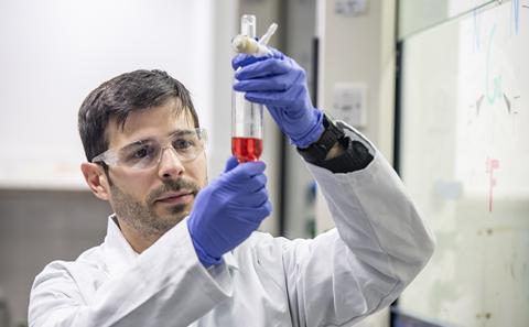 Dr Francesco Monzittu in his lab