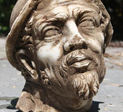 A frontal view of the marble head
