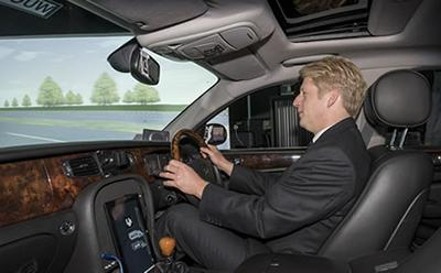 Jo Johnson in the driving simulator