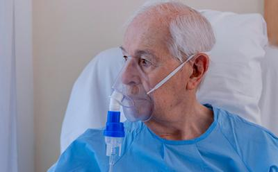 Man wearing oxygen mask