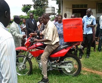 Sample transfer via motorbike