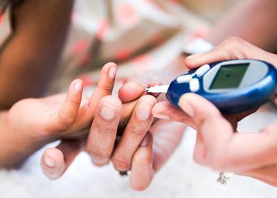 Diabetes finger prick blood sample