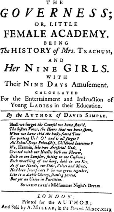 Title page from The Governess, 1749