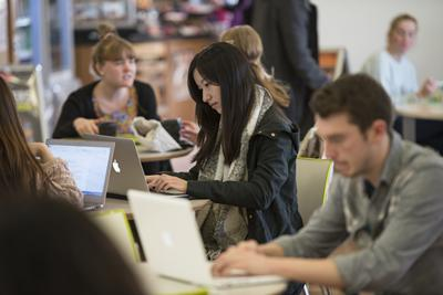 Students in Hartley Library