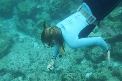 student snorkelling