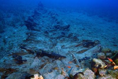 The remains of a wooden shipwreck