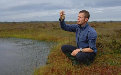 Dr Robroek pictured in a peat bog.