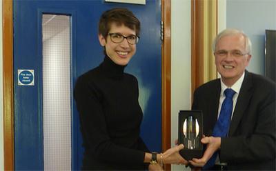 Dr Reimer receiving her award