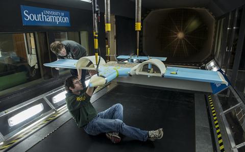 Drone development in wind tunnel