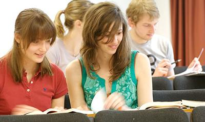 Two students studying together
