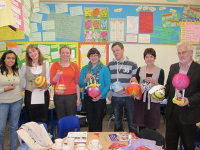 Teachers with their piñatas
