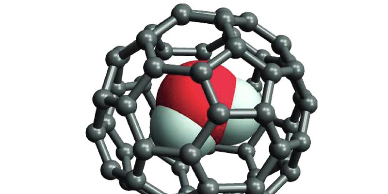 Water molecule trapped in a fullerene cage