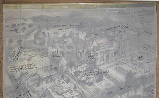Annotations by Alan Sorrell and others overlaying Sorrell's working drawing of the site of Athelhampton (near Dorchester, Dorset, UK). Image reproduced with the kind permission of the Sorrell family.