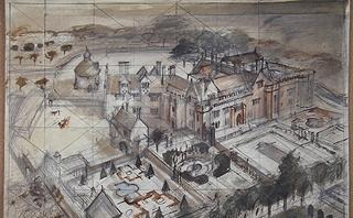 Working drawing of the site of Athelhampton (near Dorchester, Dorset, UK) by Alan Sorrell. Image reproduced with the kind permission of the Sorrell family.