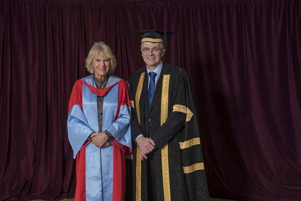 The Duchess of Cornwall with Professor Sir Christopher Snowden, Vice Chancellor of the University
