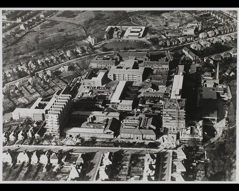 Development: Aerial view of the Highfield campus, with the Lanchester building, 1960s